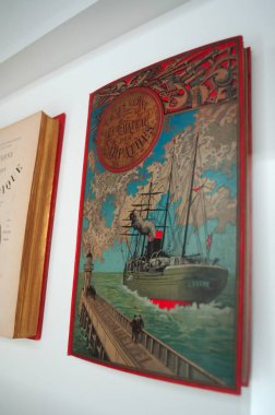 Porto: an ancient edition of the book Le Chateau des Carpathes, The Castle of the Carpathians, a Gothic novel by Jules Verne published in 1892, in a theca at the Serralves Foundation