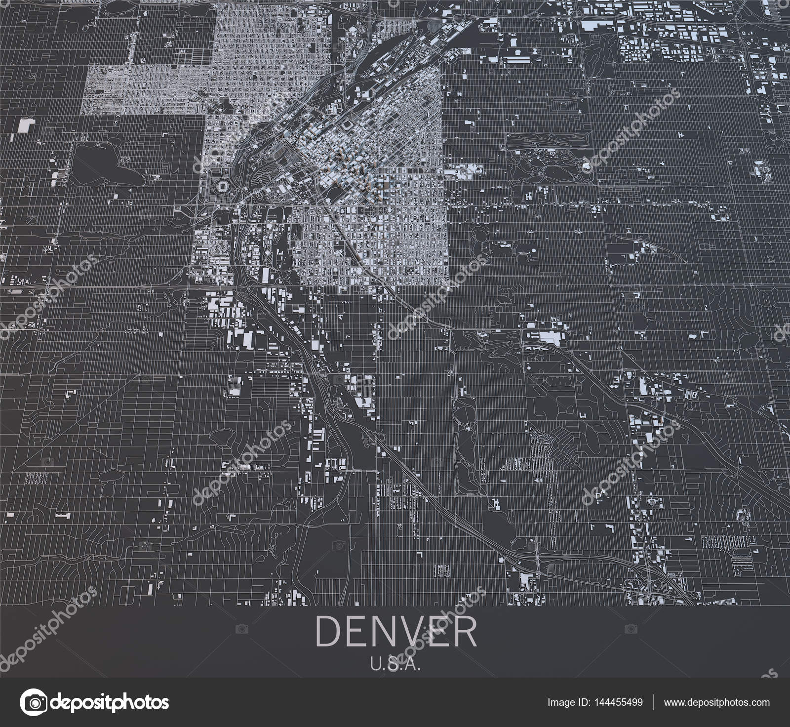 United States Map Satellite.Denver Map Satellite View United States Stock Photo C Vampy1