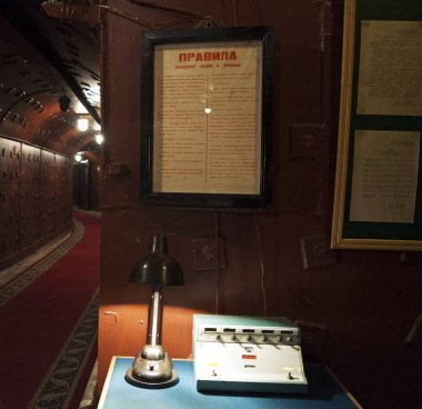 Moscow: a Soviet radio in a tunnel at Bunker-42, anti-nuclear underground facility built in 1956 as command post of strategic nuclear forces of Soviet Union at a depth of 65 meter under Taganka Square