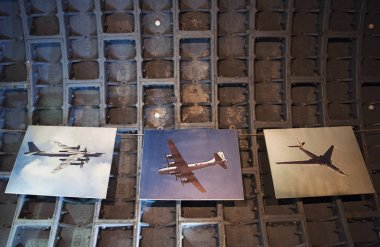 Moscow: posters of Russian military aircrafts on the concrete ceiling of the Bunker-42, anti-nuclear underground facility built in 1956 as command post of strategic nuclear forces of Ussr