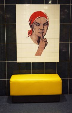 Moscow: one of the most famous posters of Second World War, made by Nina Vatolina, in 1941 reproduced on women's restroom tiles at Bunker-42, anti-nuclear underground facility built in 1956