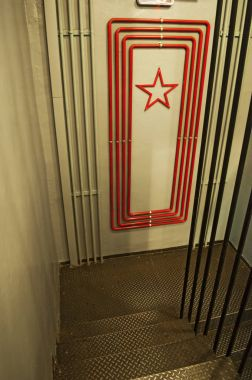 Moscow: the stairs at Bunker-42, anti-nuclear underground facility built in 1956 as command post of strategic nuclear forces of Soviet Union at a depth of 65 meter under Taganka Square