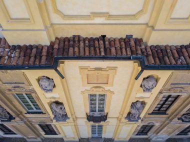 Details of the Arconati villa, statue windows and balconies. Villa Arconati, Castellazzo, Bollate, Milan, Italy. Aerial view