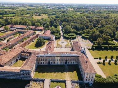 Villa Arconati, Castellazzo, Bollate, Milan, Italy. Aerial view of Villa Arconati 17/06/2017. Gardens and park, Groane Park.