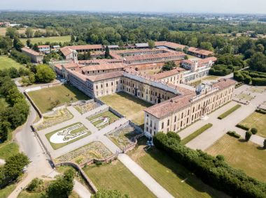 Villa Arconati, Castellazzo, Bollate, Milan, Italy. Aerial view of Villa Arconati. Gardens and park, Groane Park. Palace, baroque style palace, streets and trees seen from above