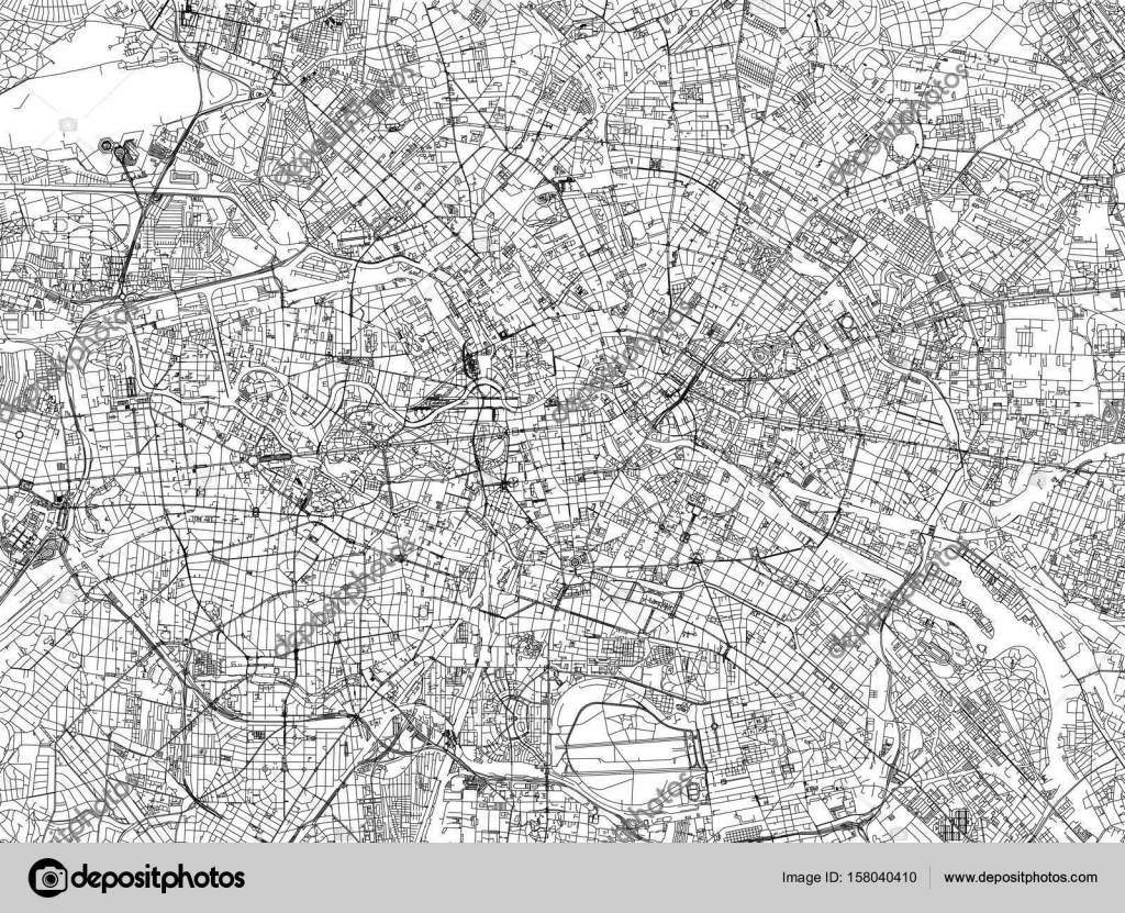 Berlin map cities streets Germany satellite view Stock Vector