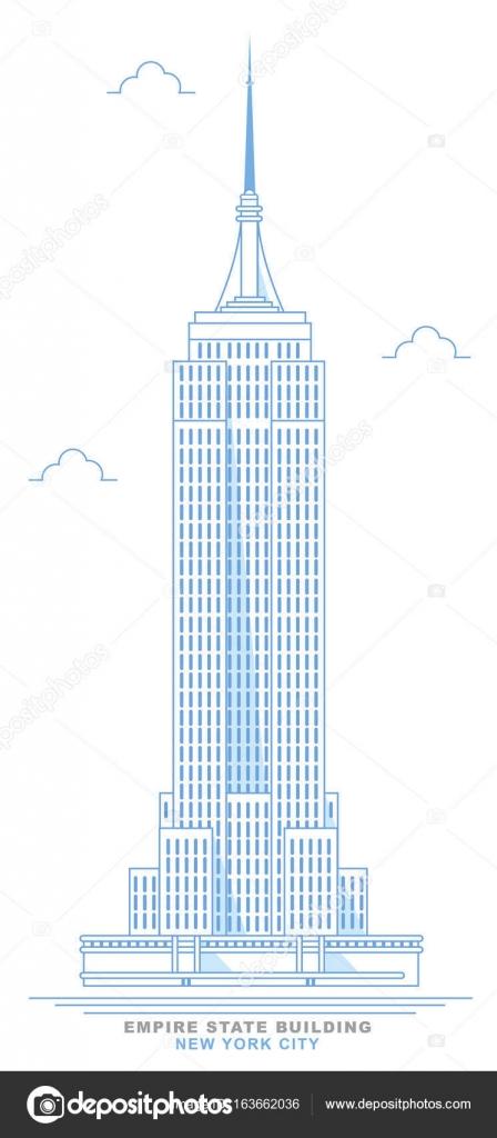 empire state building stilisiert freihand design new york city hochhaus im art deco stil. Black Bedroom Furniture Sets. Home Design Ideas