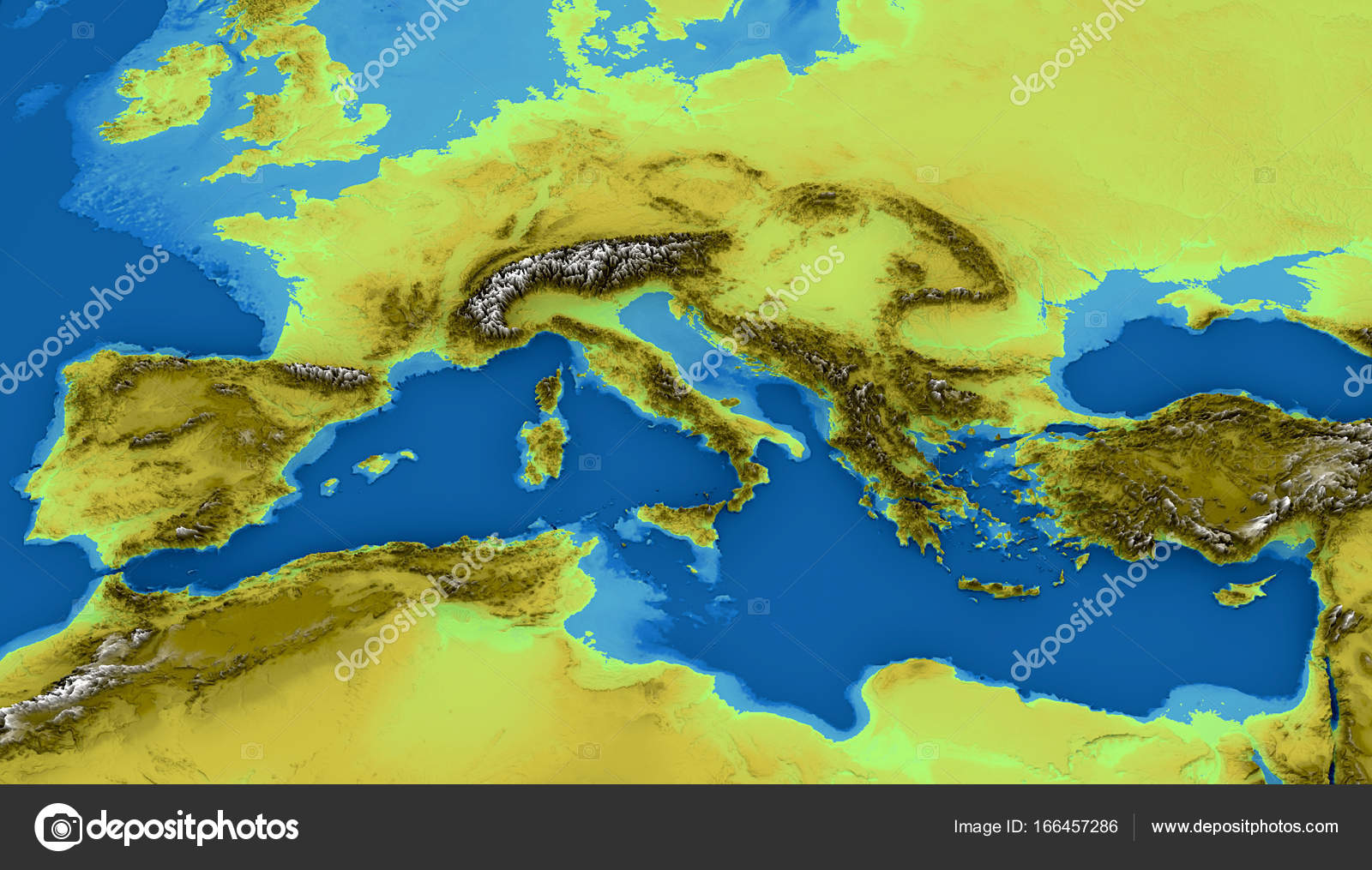 Map Of The Mediterranean Sea And Europe Map Of Heights Sea Bottom