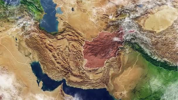 Map of Afghanistan and borders, physical map Middle East, Arabian peninsula, map with reliefs and mountains