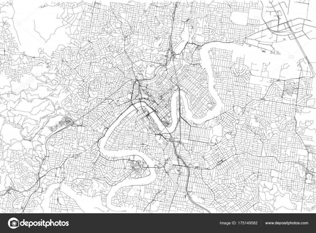 streets brisbane city map australia street map stock vector