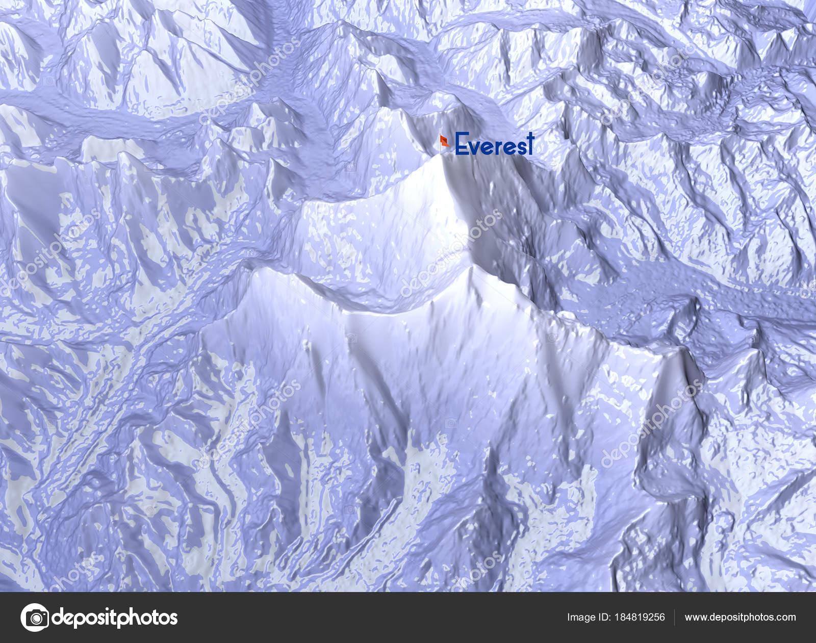 Himalaya Berge Karte.Mount Everest Relief Hohe Berge Himalaya Karte Stockfoto