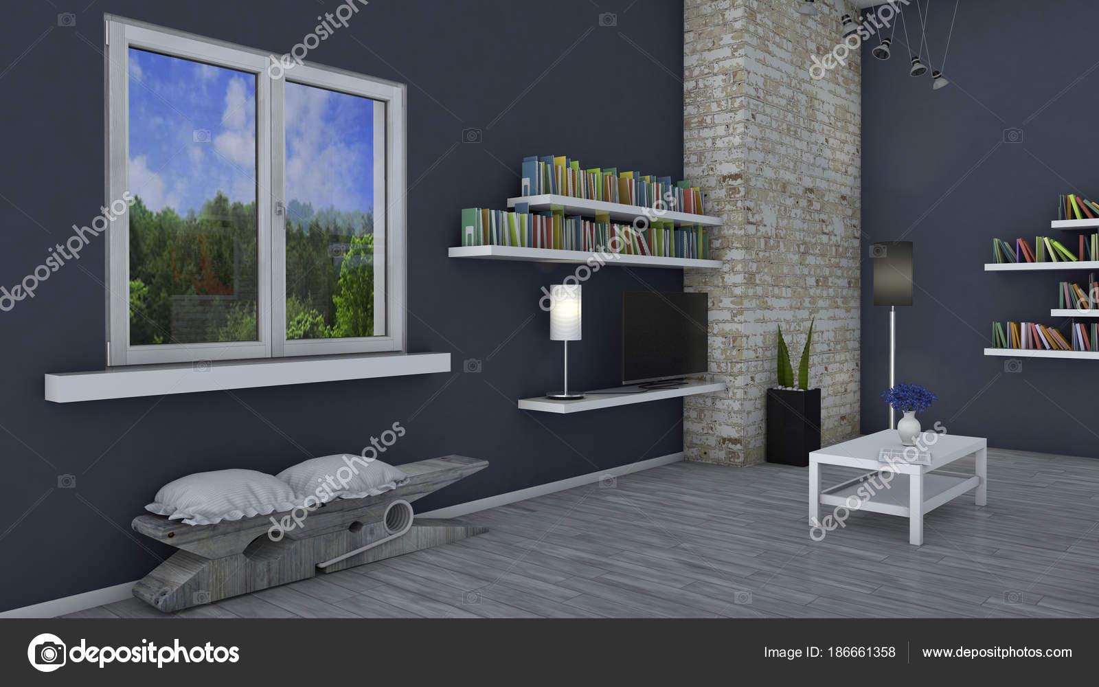 Wunderbar Innenarchitektur Wohnzimmer Und Moderne Möbel Wand Fenster Mit Blick Auf U2014  Stockfoto