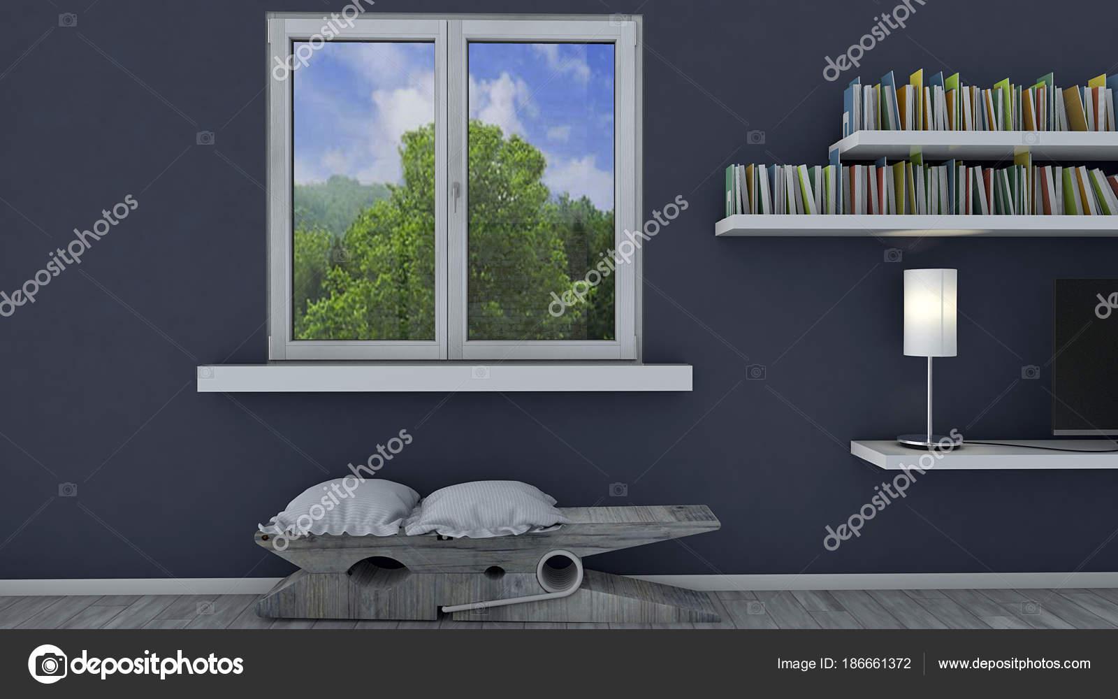 interieur decoratie boekenkast opknoping een blauwe muur een venster met stockfoto