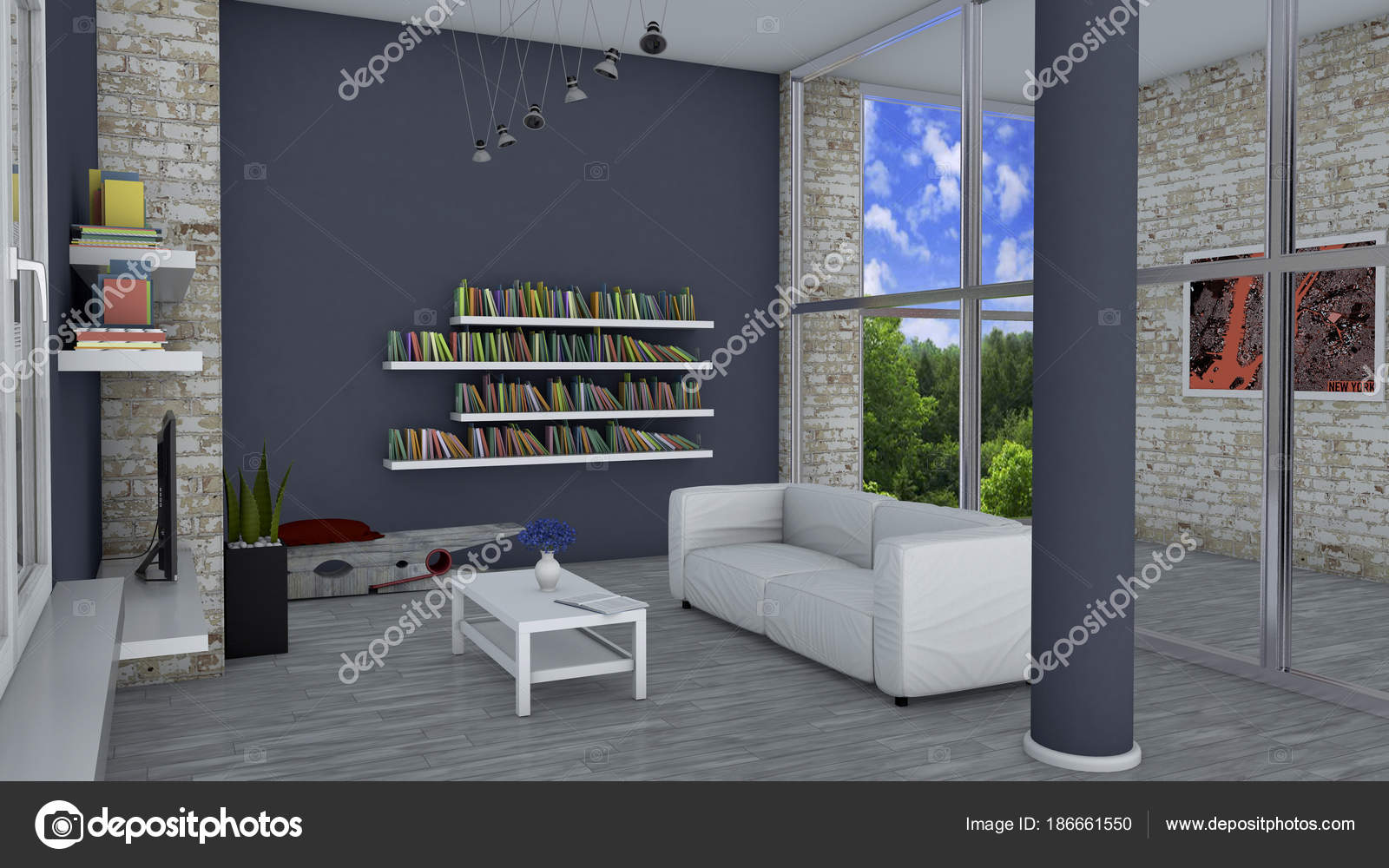 Interior design living room modern furniture brick wall window overlooking stock photo