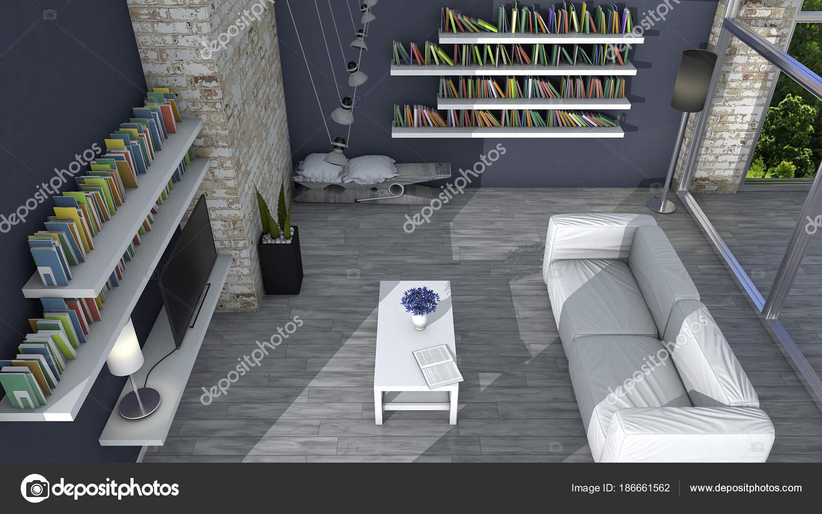 Innenarchitektur Wohnzimmer Und Moderne Möbel Wand Fenster Mit Blick Auf U2014  Stockfoto