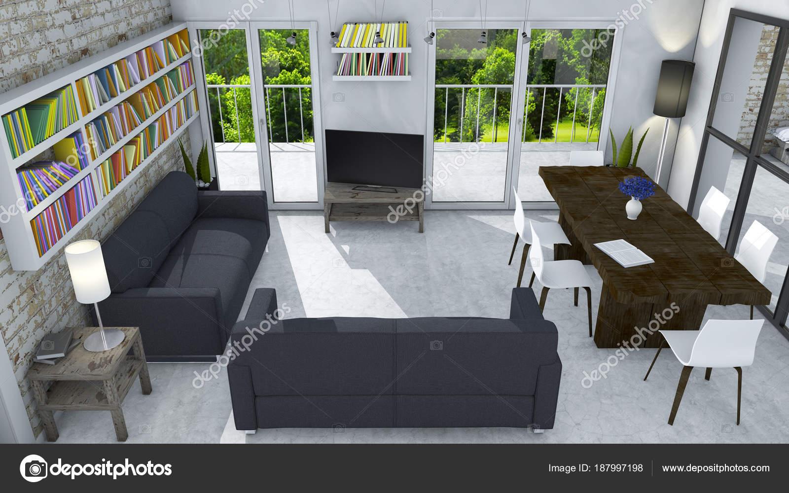 Decoración Interiores Pintura Con Una Estantería Colgada Una
