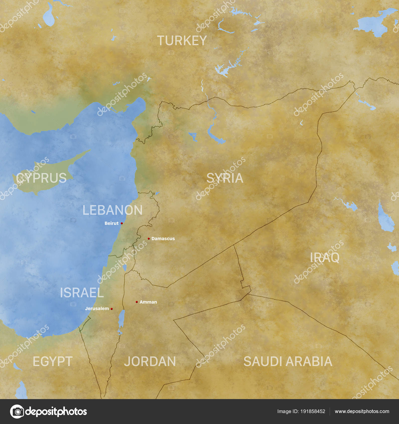Map Syria Borders Physical Map Middle East Arabian Peninsula Map