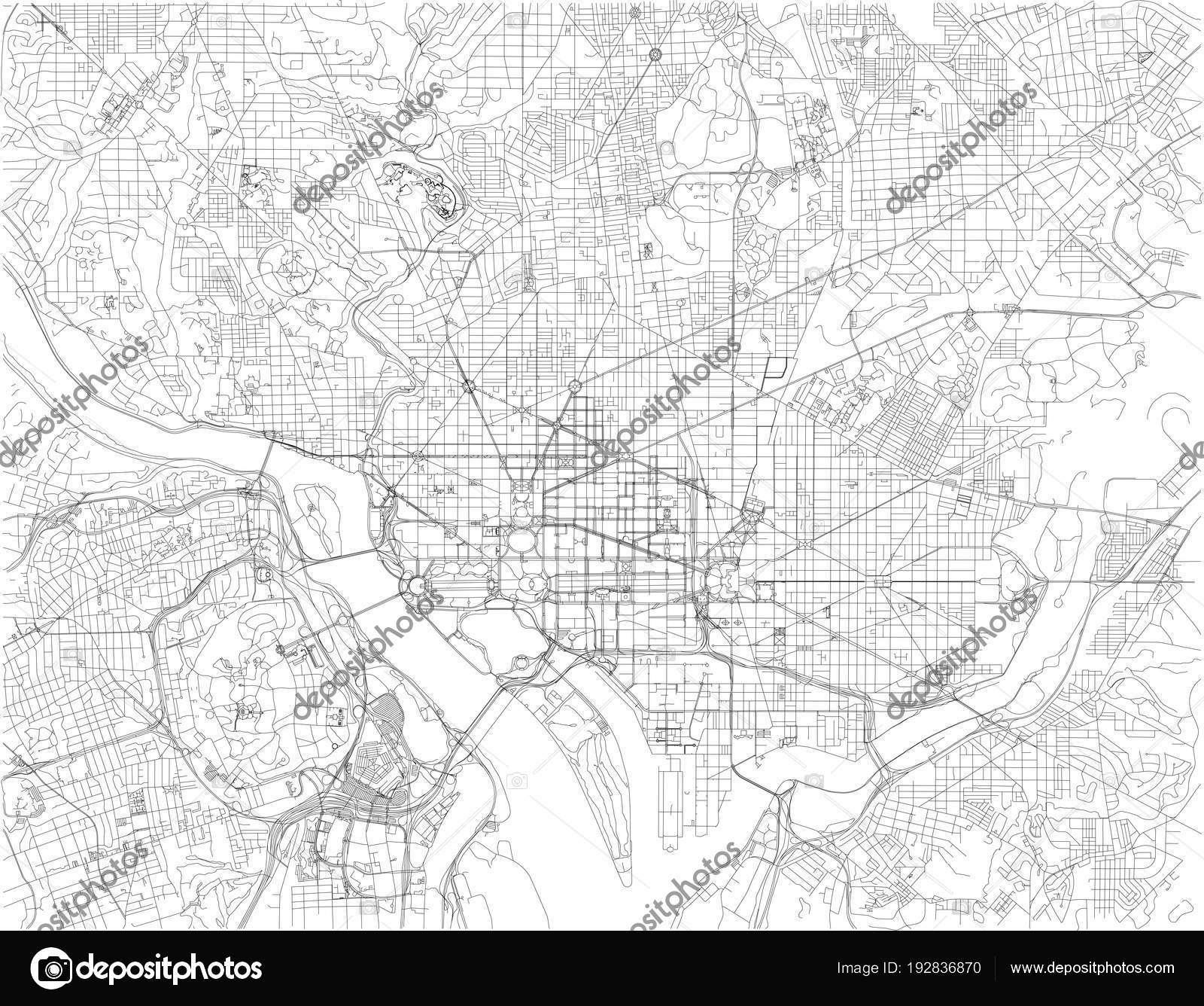 Washington Map Capital United States America Streets Capital ... on black and white portraits of women, latitude and longitude of usa, black and white map of asia,