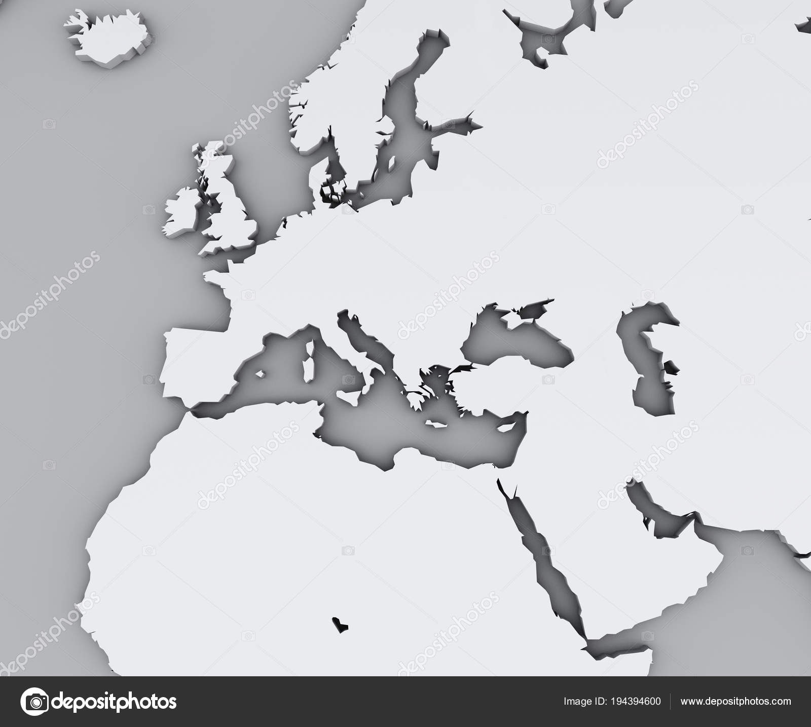 Map Mediterranean Sea Europe Africa Middle East Cartography ...