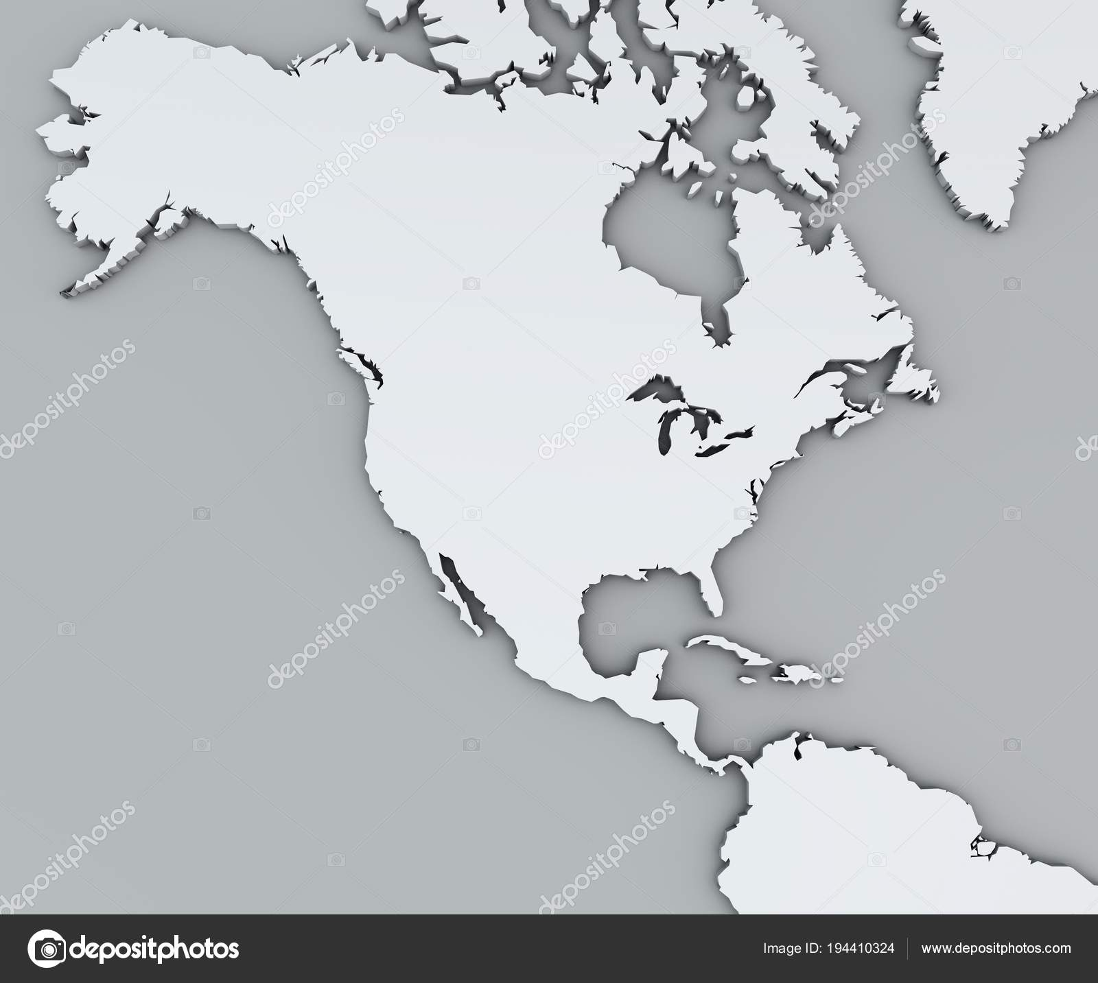 Map North America White Geographic Map Cartography Geographical Atlas Stock Photo C Vampy1 194410324