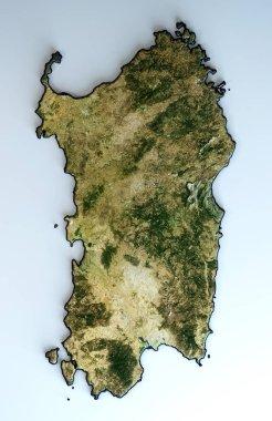Satellite view of the Sardinia region. Italy. 3d render. Physical map of Sardegna, plains, mountains, lakes, mountain range