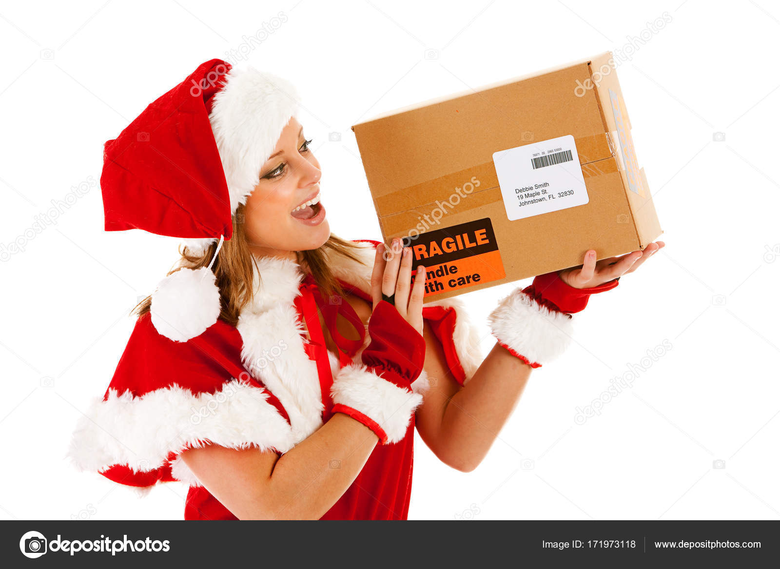 Weihnachten: Santa Mädchen mit Paket — Stockfoto © sjlocke #171973118