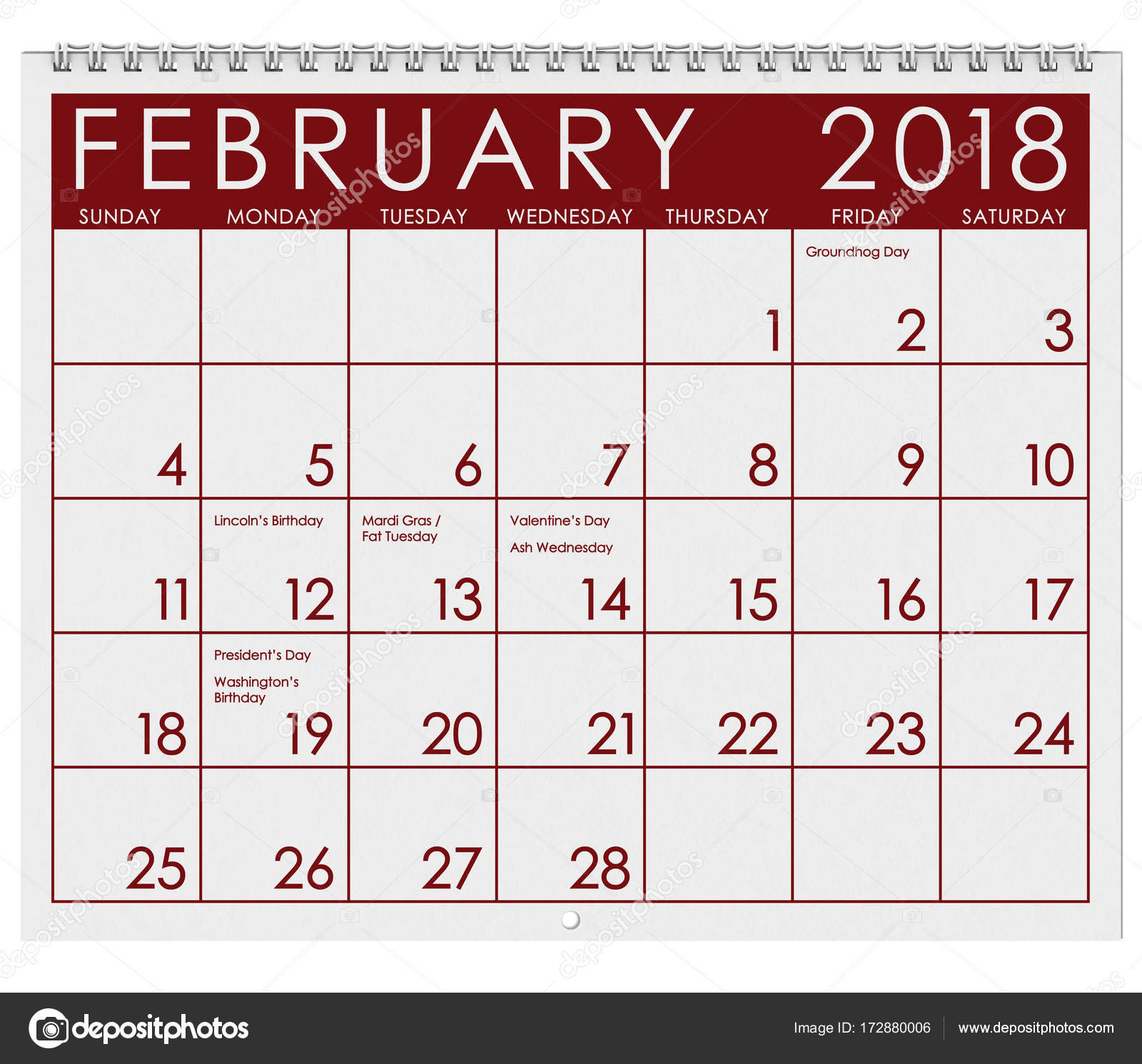 2018 Calendar Month Of February With Valentine S Day Stock Photo