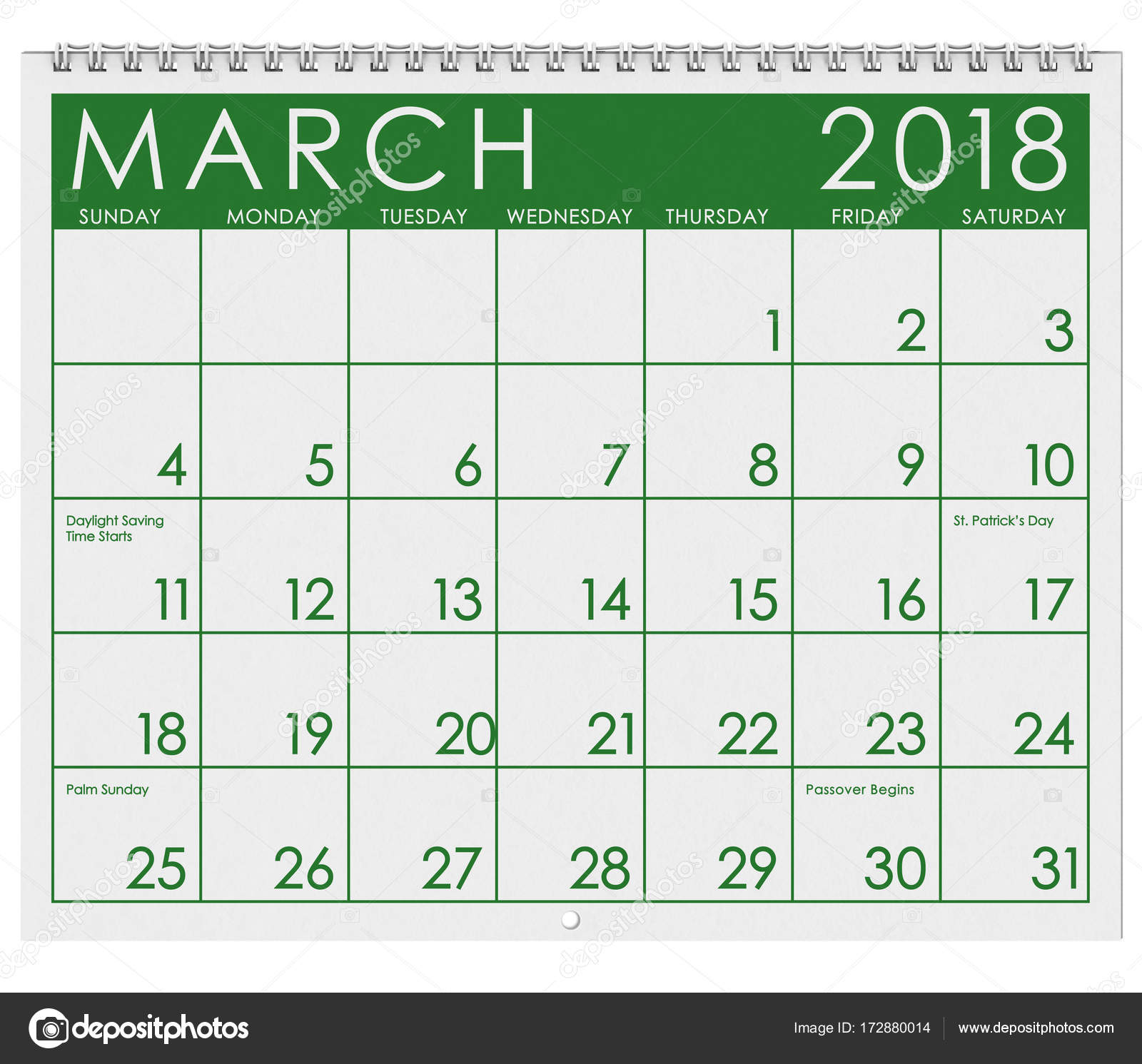 2018 Calendar: Month Of March With St. Patrick's Day — Stock Photo