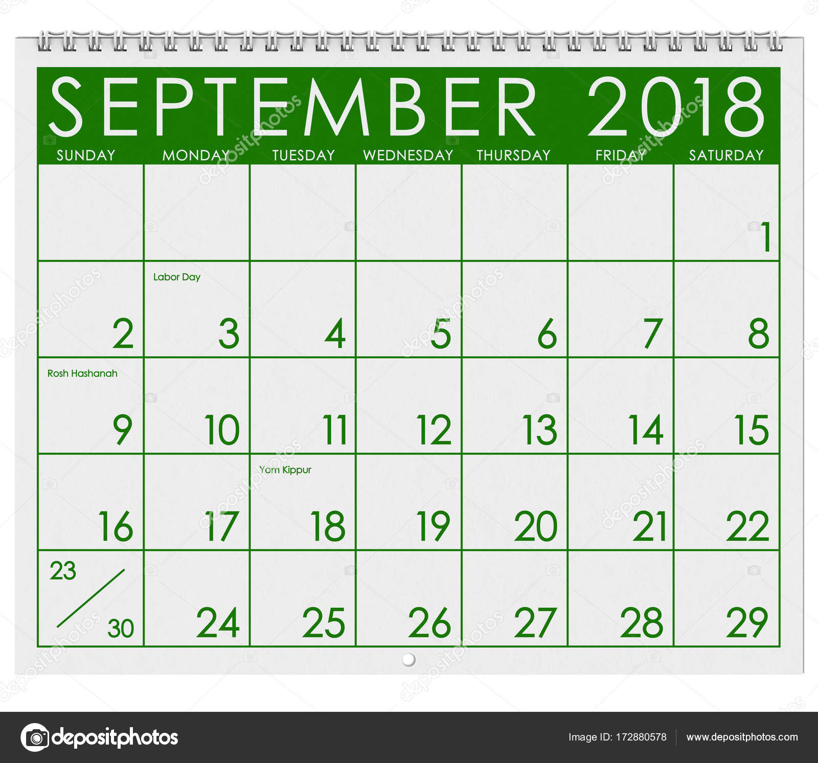 2018 Calendar: Month Of September with Labor Day — Stock Photo