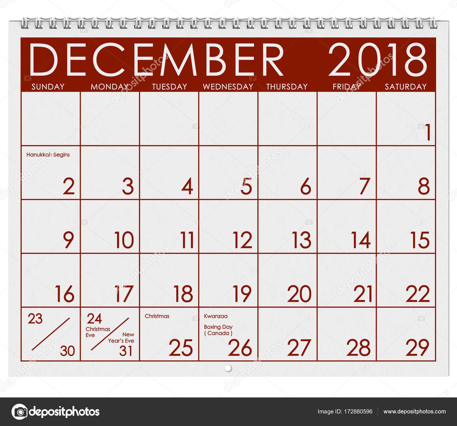 weihnachten 2018 kalender 2018 Kalender: Monat Dezember mit Weihnachten — Stockfoto  weihnachten 2018 kalender