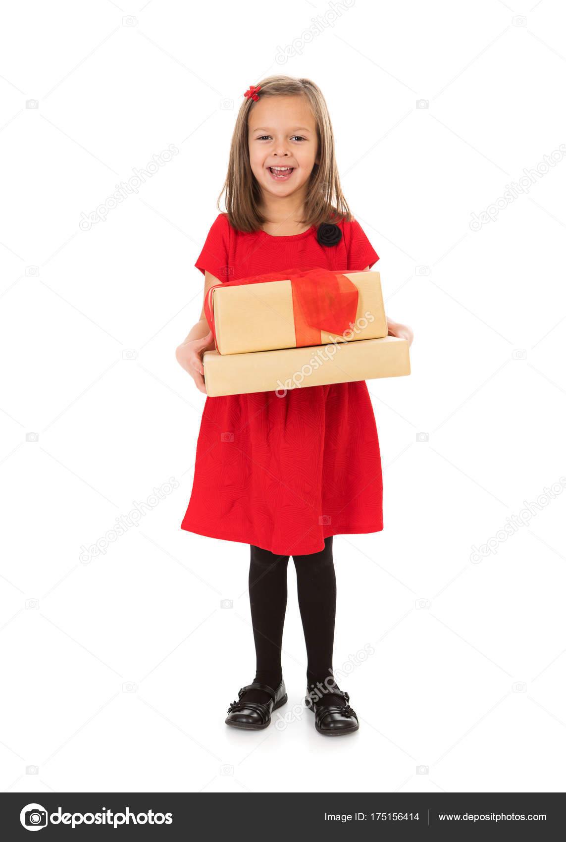 Weihnachten: süßes Mädchen mit Weihnachtsgeschenke — Stockfoto ...