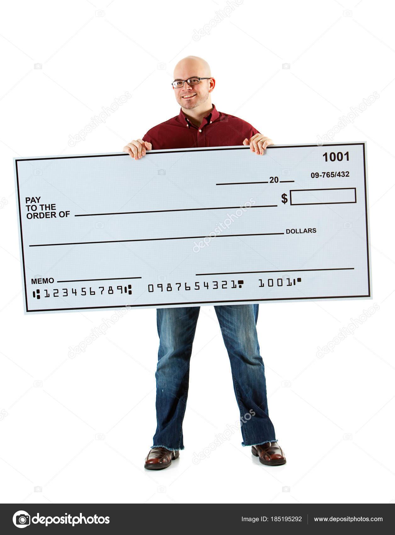 Check: Chico alegre cheque enorme — Foto de stock © sjlocke #185195292