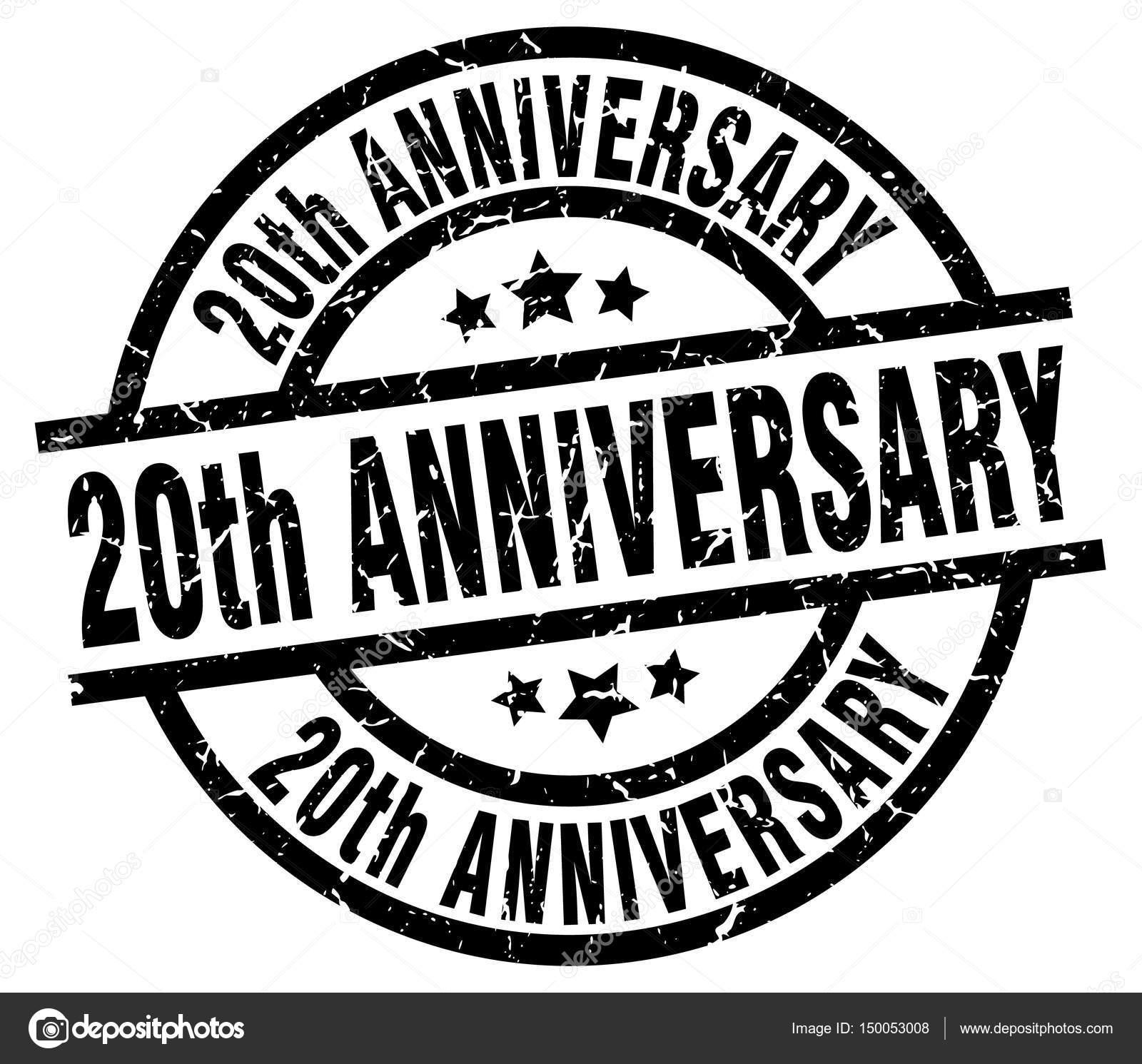 20ste Verjaardag Ronde Grunge Zwarte Stempel Stockvector