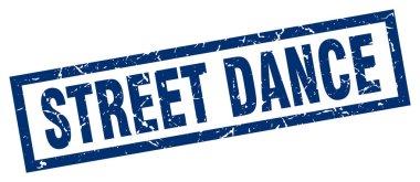 square grunge blue street dance stamp