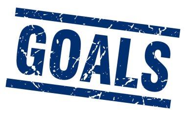 square grunge blue goals stamp