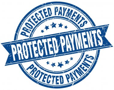 protected payments round grunge ribbon stamp