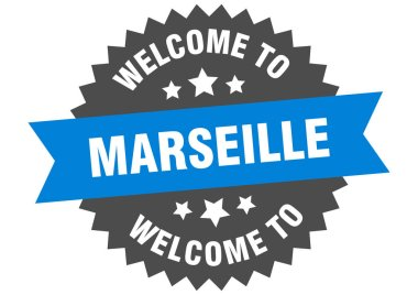 Marseille sign. welcome to Marseille blue sticker