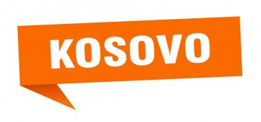 Kosovo sticker. Orange Kosovo signpost pointer sign