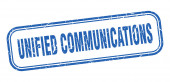 Unified Communications Stempel. Unified Communications Square Grunge blaues Schild