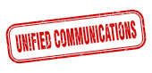 Unified Communications Stempel. Unified Communications Square Grunge rotes Schild
