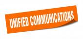 Aufkleber für einheitliche Kommunikation. Einheitliche Kommunikation quadratische Zeichen. Einheitliche Kommunikation. Schäler