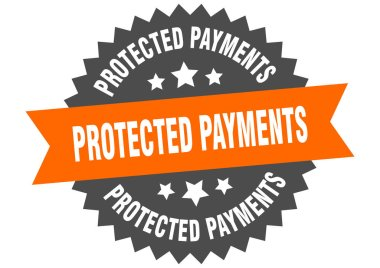 protected payments sign. protected payments circular band label. round protected payments sticker