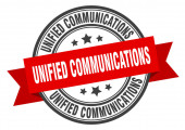 Unified Communications Label. vereinheitlichte Kommunikationsrunde Bandzeichen. Einheitliche Kommunikationsmarke