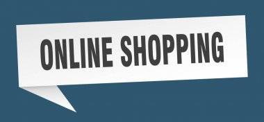 online shopping speech bubble. online shopping ribbon sign. online shopping banner
