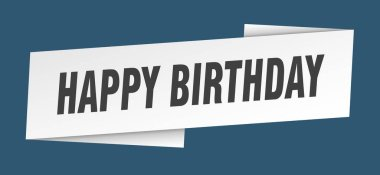 happy birthday banner template. happy birthday ribbon label sign