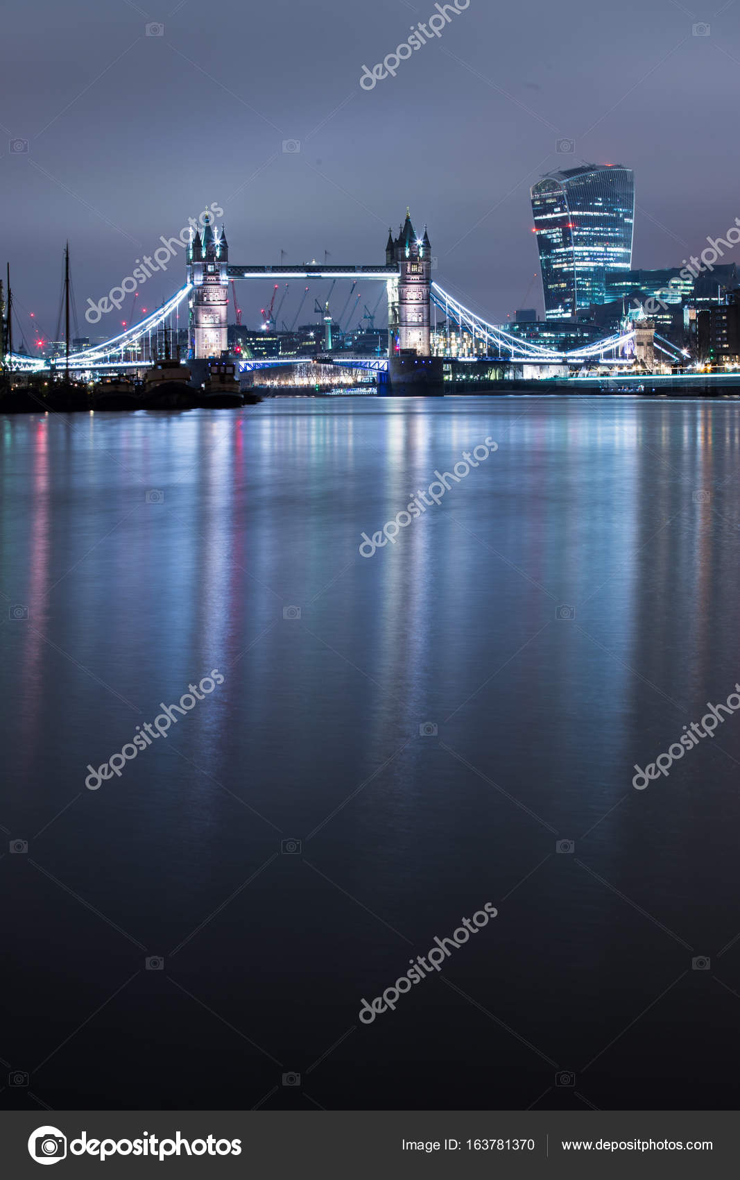 Famous Tower Bridge Thames River Night London England Stock Photo