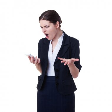Angry businesswoman standing over white isolated background