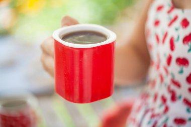 Woman drink coffee tea cup