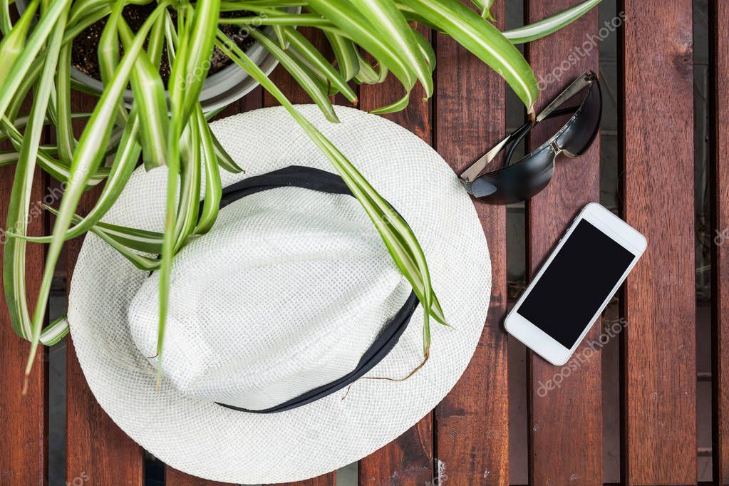 Smartphone, hat, leaf, sunglasses, outdoor,