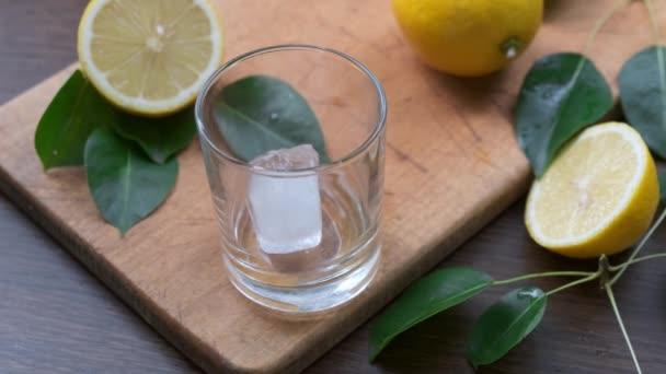 Nahaufnahme von Kristall-Eiswürfel in ein Glas geben, Cocktail zubereiten.